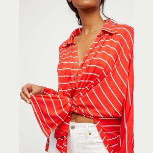Free People Can't Fool Me Striped Split Top Red XS